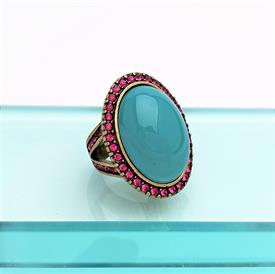 """,HEIDI DAUS FAUX TURQUOISE & PINK CRYSTAL DOME TOP COCKTAIL RING. SIZE 7. 1.25"""" LONG"""