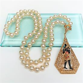 ",CAMROSE & KROSS JBK (JACKIE KENNEDY) REPLICA FAUX PEARL NECKLACE WITH REMOVABLE EGYPTIAN REVIVAL PENDANT. 27"" LONG WITH 3.3"" PENDANT"