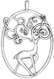 -,Dasher Sterling Silver Christmas Ornament by Hand & Hammer