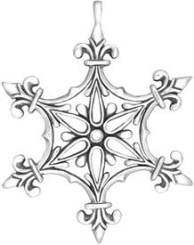 -,Renaissance Snowflake Ornament Sterling Silver by Hand & Hammer