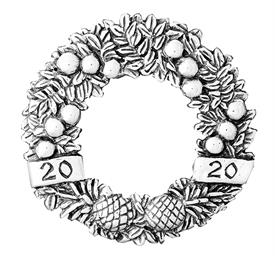 _,2020 Annual Wreath Sterling Silver Christmas Ornament by Hand & Hammer