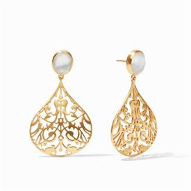 """-,CHANTILLY EARRINGS IN IRIDESCENT CLEAR CRYSTAL. 24K GOLD PLATED FILIGREE DROPS WITH FACETED GLASS GEMS. 2"""" LONG"""