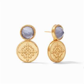 "-,FLEUR DE LIS EARRINGS IN IRIDESCENT SLATE BLUE. 24K GOLD PLATED EARRINGS WITH BEADED TRIM & CUT GLAS GEMS. 1.25"" LONG"