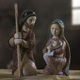 "-,HOLY NIGHT, MARY & JOSEPH FIGURINES. JOSEPH MEASURES 9.5"" TALL. MARY WITH THE BABY JESUS MEASURE 7.5"" TALL"