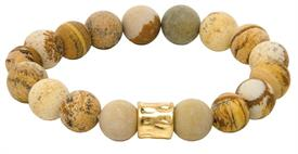 _GOLD RONDELL LACE AGATE BEAD BRACELET. MSRP $24.95
