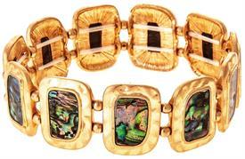 _GOLD ABALONE RECTANGLE BRACELET. MSRP $29.95