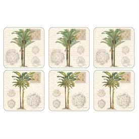 "-:VINTAGE PALM STUDY SET OF 6 COASTERS. 4.25"" SQUARE. CORK BACKED BOARD. CLEAN WITH DAMP CLOTH"