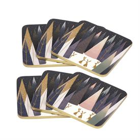 """-:SET OF 6 COASTERS. 4.25"""" SQUARE. CORK BACKED BOARD. CLEAN WITH DAMP CLOTH"""