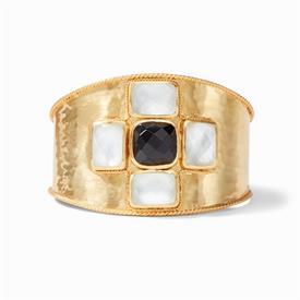 -,SAVOY CUFF IN OBSIDIAN BLACK & CLEAR. LAVISH ROSE CUT GLASS GEMS SET IN A LIGHTLY HAMMERED 24K GOLD PLATED CUFF. ONE SIZE.