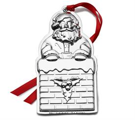 -,5th Ed. Santa Sterling Silver Annual Ornament 5th Anniversary Edition Made by Wallace in USA M S R P $240
