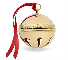 -,2021 Gold Plated Sleigh Bell 32nd Edition (Acorns & Snowflakes) made by Wallace in USA M S R P $114
