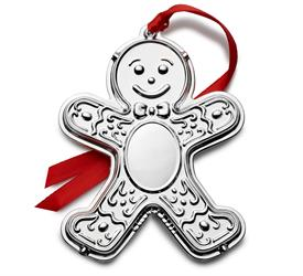 -,2021 Engraveable Ornament Silver Plated (Gingerbread Person) 9th Edition M S R P  $82.50 made by Wallace in USA
