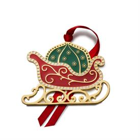 -,12th Wonders of Christmas Series 12th Edition Gold Plated & Enameled Christmas Ornament made by Wallace in Year 2021 Santa's Sleigh & Bag