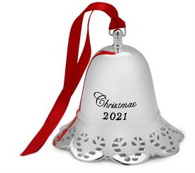 """-,41st Ed. Musical Bell Silver Plated Ornament made by Towle - 41st Edition Candy Cane border M S R P $67.50 Plays """"Frosty the Snowman"""""""