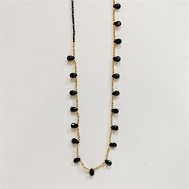 """-,GUINEVERE NECKLACE IN BLACK ONYX. 32"""" BLACK ONYX & GOLD PLATED BEADS."""