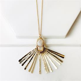 """-,ARETHA NECKLACE IN MOONSTONE. 31"""" CHAIN WITH MOONSTONE & HAMMERED BRASS FINISHED PENDANT."""