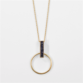 """-,REVERSIBLE DECO DIAMOND PENDULUM PENDANT NECKLACE. 1.5"""" PENDANT ON 30"""" 18K GOLD PLATED CHAIN WITH A 2"""" EXTENDER"""