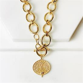 """-,ADA LINK NECKLACE. 18K OVER BRASS CHAIN WITH TREE OF LIFE PENDANT & PEARL ACCENTED TOGGLE CLOSURE. 16"""" LONG"""