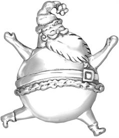 -,3817 Bouncing Saint Nick Sterling Silver Christmas Ornament by Hand & Hammer