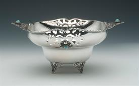 ",800 FINE 80% SILVER BOWL WITH TURQUOISE INLAID STONES PROBABLY MADE IN PORTUGAL OR ITALY 9.70 TROY OUNCES 4"" TALL 9.5"" DIAMETER"