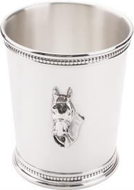 "-,Kentucky Horse Head Sterling Silver Julep Cup Imported from Italy 3.6"" tall 5.65 troy ounces very handsome design"