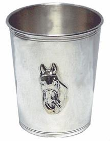 "-,JULEP CUP, HORSE HEAD DESIGN. MADE IN ITALY. STERLING SILVER. 3.5"" TALL X 3"" TOP DIAMETER."