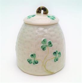 ",MARMALADE POT WITH NO SPOON SLOT IN LID. 6TH MARK (3RD GREEN) CA. 1965-1980. 3.4"" TALL, 3.2"" WIDE"