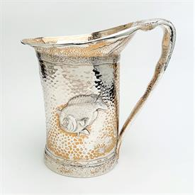 ",CRAYFISH & HAMMERED WATER JUG STERLING SILVER MADE BY TIFFANY 1880 BY EDWARD MOORE 24 T.OZ. 8.75"" TALL -OUTSTANDING PIECE!!"