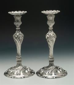 ",CANDLESTICKS PAIR 10.5"" ORNATE, MARKED MADE FOR TIFFANY, STERLING"