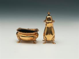 "SALT & PEPPER SHAKER PAIR TIFFANY GILT VERMEIL STERLING SILVER CONTAINS 2.15 TROY OUNCES 3"" TALL PEPPER SALT 2""X 1.5"" BY 1.2"" TALL"