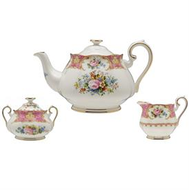 ,3 PIECE TEA SERVICE. INCLUDES TEAPOT, CREAMER, & SUGAR BOWL WITH LID