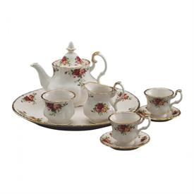 "-9-PIECE 'LE PETITE' MINIATURE TEA SET. HAND WASH. TRAY MEASURES 8"" WIDE."
