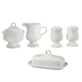 -HOSTESS SET. INCLUDES CREAMER, SUGAR BOWL, SALT & PEPPER SHAKERS, & COVERED BUTTER DISH