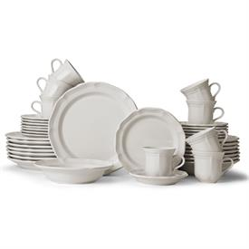 ,-40 PC SET (SERVICE FOR 8).INCLUDES 8 EACH DINNER PLATES, SALAD PLATES ,SOUP BOWLS, CUPS & SAUCERS. MSRP $812.00