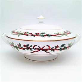 ",COVERED VEGETABLE BOWL. MADE IN ENGLAND. 5.5"" TO TOP OF FINIAL X 11"" HANDLE TO HANDLE"