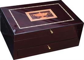 "_,1600M FITZHUGH WILLIAMSBURG CHEST WITH 1 DRAWER HOLDS UP TO 150 PIECES 18"" X 12"" X 7"" BEAUTIFULLY LAQUERED FINISH. MSRP $500"