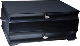"-$64BK MANHATTAN 1 DRAWER SILVER CHEST BLACK FINISH HOLDS UP TO 24 SETTINGS 16.15"" X 11.6"" X 7.5"""