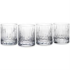 "-SET OF 4 DOUBLE OLD FASHIONED GLASSES. 3.9"" TALL. HAND WASH. BREAKAGE REPLACEMENT AVAILABLE."