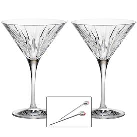 -MARTINI GLASS PAIR WITH OLIVE PICKS. 8 OZ. CAPACITY. HAND WASH. BREAKAGE REPLACEMENT AVAILABLE.