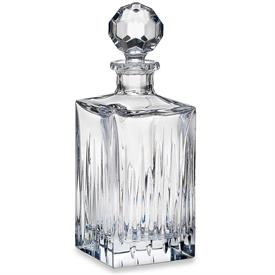 "-SQUARE DECANTER. 10.75"" TALL, 26 OZ. CAPACITY. HAND WASH. BREAKAGE REPLACEMENT AVAILABLE."
