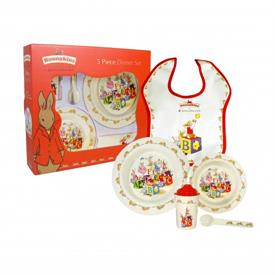 -5 PIECE MELAMINE DINNER SET. INCLUDES CUP, SPOON, PLATE, BOWL, & BIB