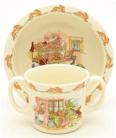 "-BABY 2PC TRADITIONAL  6""ROUND BOWL AND TWO HANDLE CUP DIFFERENT SCENE ON EACH PIECE."