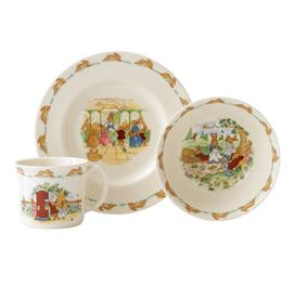 "-3PC CHILDS SET. INCLUDES 8"" PLATE, ONE HANDLED MUG & 6"" BOWL. ASSORTED PLAYFUL BUNNY SCENES."