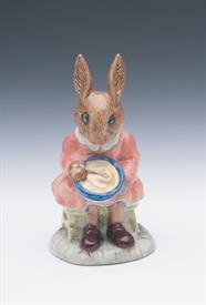 VINTAGE 'BUNTI BUNNYKINS, HELPING MOTHER' FIGURINE. MADE FOR THE GOLDEN JUBILEE YEAR, 1984.