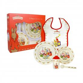 -,MELAMINE 5PC DINNER SET. INCLUDES PLATE, BOWL, SIPPY CUP, SPOON & BIB.
