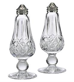 ",FOOTED SALT & PEPPER WITH SILVER PLATED TOP. 6.5"" TALL"