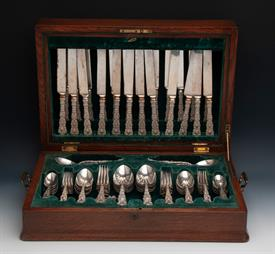""",100 Piece Set in Fitted Box of Imperial Chysanthemum by Gorham all monogrammed """"MM""""  Weight 138.25 t.oz. sterling silver"""