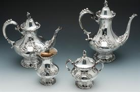 ,4 Piece Tea & Coffee Set: Coffee Pot, Tea Pot, Creamer & Sugar -This set is in lovely pre-owned condition
