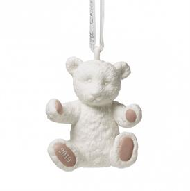 """-,2019 PINK BABY'S FIRST CHRISTMAS BEAR ORNAMENT. 2.7"""" LONG, 2.1"""" WIDE, 1.8"""" DEEP"""