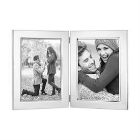 "-1457-2 CLASSIC DOUBLE 5X7"" SILVERPLATE FRAME. TARNISH RESISTANT. BREAKAGE REPLACEMENT AVAILABLE."